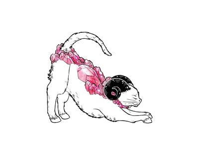 Hard Headed Cat Boops gemstone pink rose quartz astrology chimera ram cat
