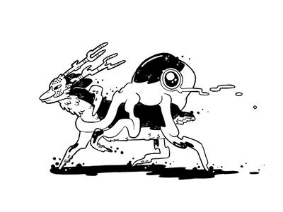 Oh Deer magic ooze forest mystical alien bizarre octopus squid ink illustration black and white line art