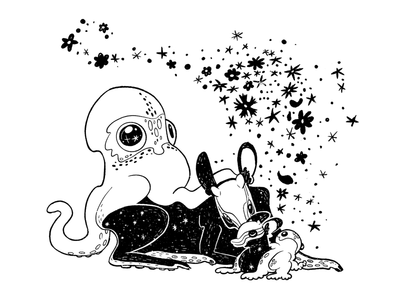 I'm a Grown Man Mom mysterious creature line art ink sparkly fawn faun baby animal dawn deer