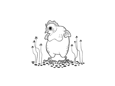 Tubbs surreal line drawing chamomile awkward fish chicken