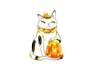 Lucky Cat line art creature gemstone quartz japanese lucky cat