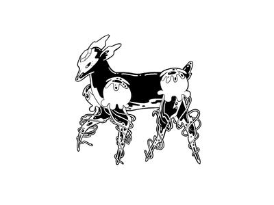 Spaghetti Legs imaginary fantasy mystery mysterious creature dark goth black ink ink tentacles jellyfish squid deer