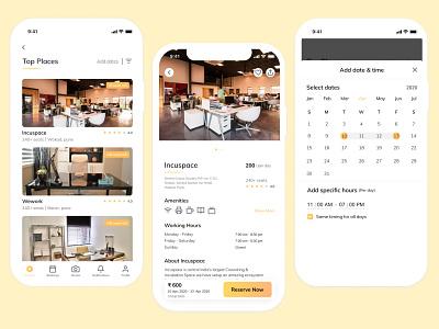 Coworking Space Booking App coworking mobile app ui design