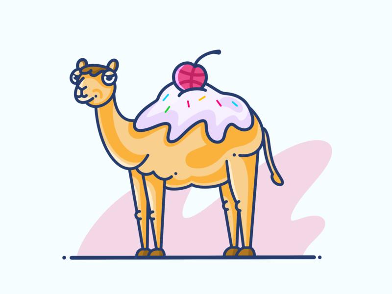 Hello, Dribbble! design vector animal art animal camel dromedary dribbble ball dribbble painting illustrator graphic design ice cartoon art procreate illustration