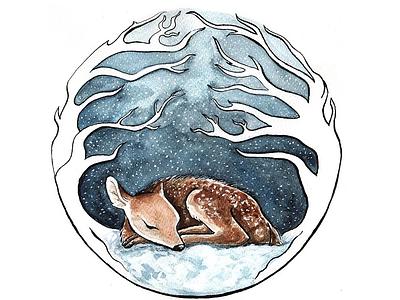 Safer in the forest winter forest animal illustration animal art deer watercolor illustration watercolor art watercolor illustration