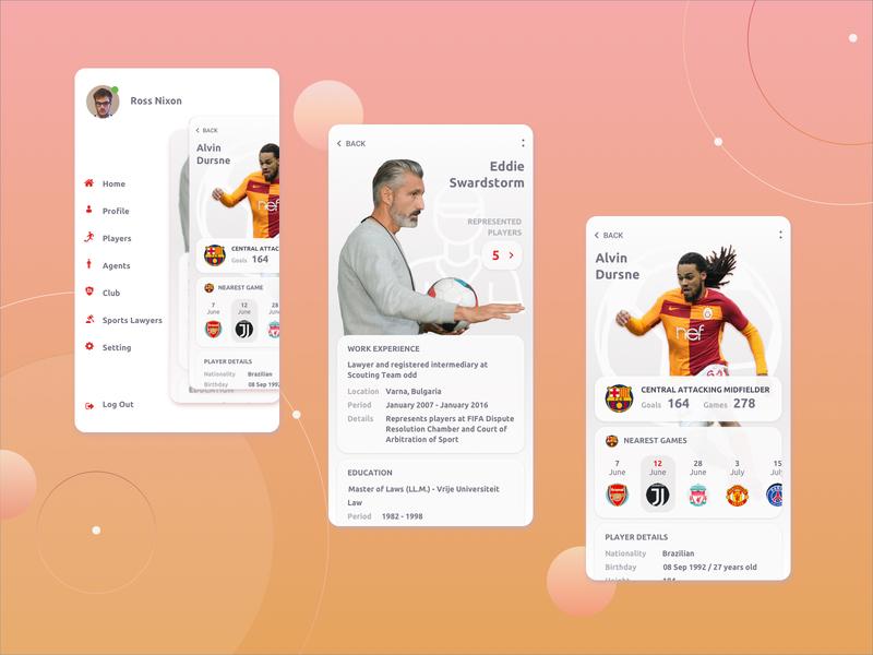 Football app footballer football club football app style appdesign mobile ui mobile app mobile design menu profile football ui design app ui design mobile