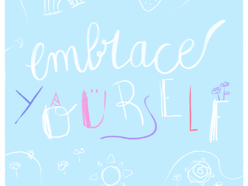 Embrase yourself branding cute illustration typography cute art pastel colors illustration