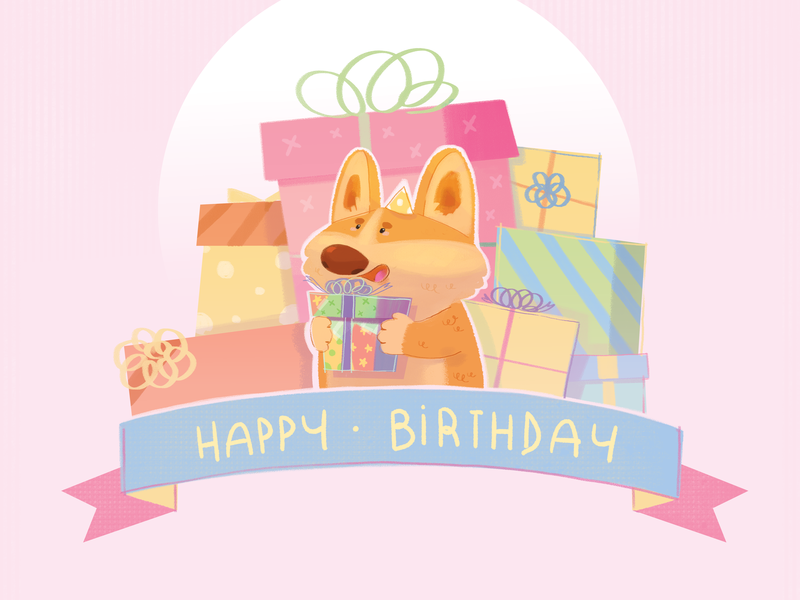 Corgi Birthday birthday birthday card cute art cute illustration pastel colors illustration