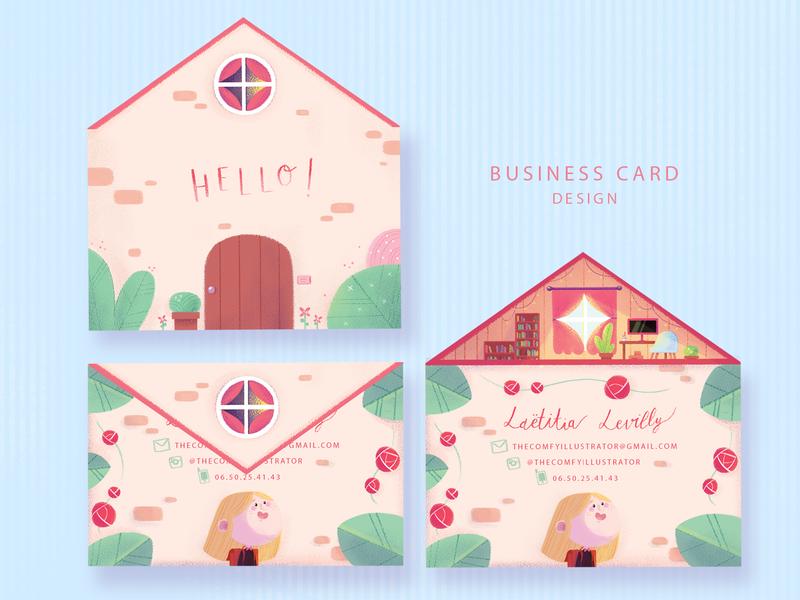 Business card design typograhy brand branding cute business card business card design business card cute illustration pastel colors illustration