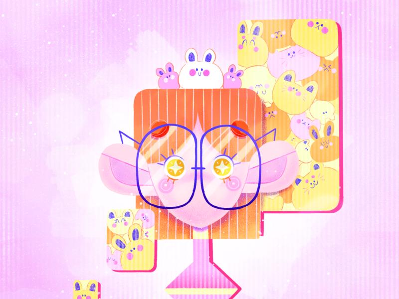 Random character design pink colorful illustration colorful art colorful bright colors cute art french art cute illustration illustration