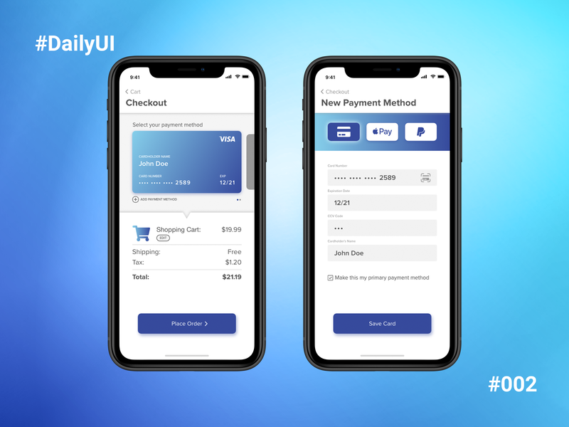 Daily UI #002 - Credit Card Checkout adobe adobe xd dailyui 002 dailyui ui ux design dailyui challenge app 002