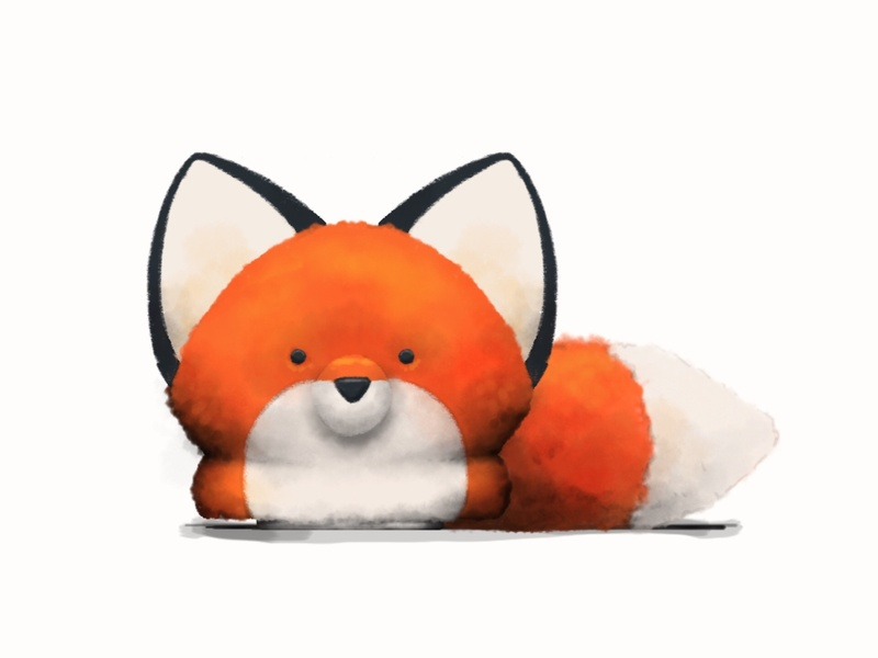 little fox plush soft fuzzy fox illustration characterart apple pencil digitalart art
