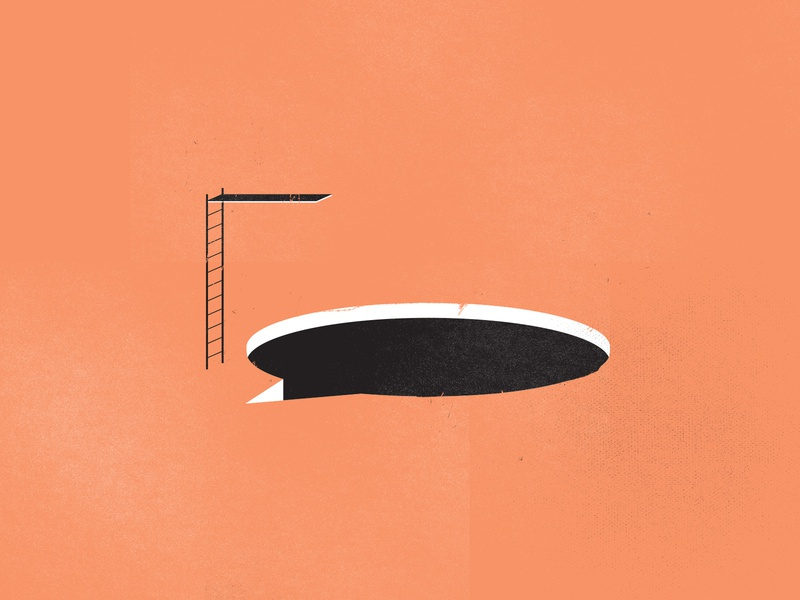 Dive in talk bubble social media illustration art illustration diving board dive conversation chat