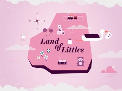 Land of Littles map toys stork babies toddlers kids illustration