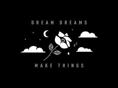 Dream dreams & make things moon stars eye rose clothing apparel illustration big cartel