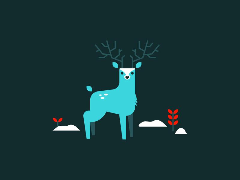 Uncle Buck fauna flora stag deer illustration holiday snow buck deer