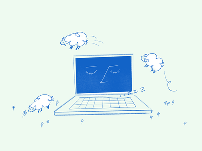 Taking a break dream computer rest chill nap snooze sheep illustration
