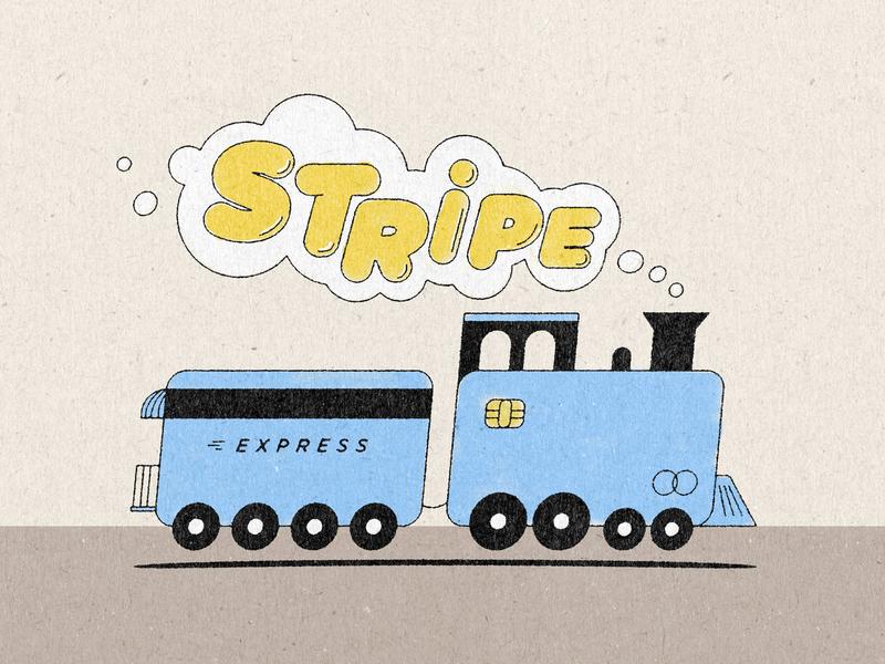 Toot toot! express choo choo illustration train stripe credit card