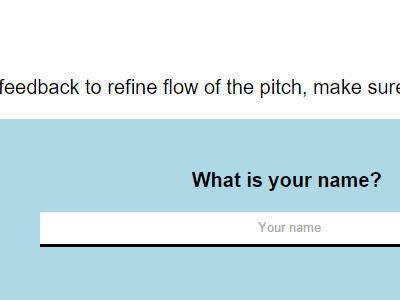 Elevator Pitch Questionnaire ui javascript css html