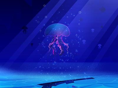 Jellyfish illustration art noise sparkle bubble water purple blue sea underwater jellyfish photoshop illustrator vector illustration design