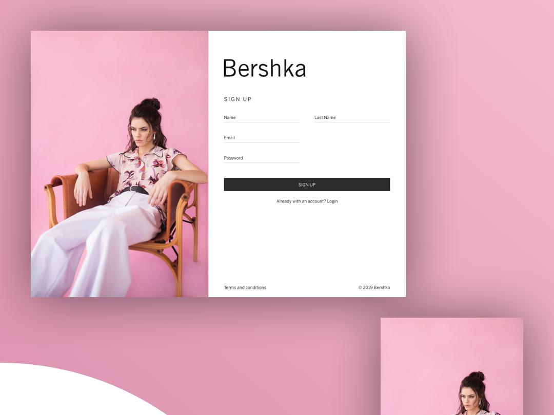 Sign up Bershka concept bershka fashion web app ux ui ios website ux designer ui  ux design uix dailyui