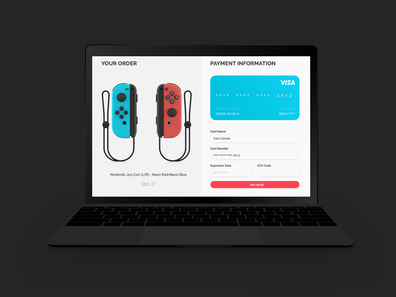 Daily UI #002 Credit Card Checkout ux ux designer uix payment nintendo switch nintendo design dailyui 002 credit card form app 002 website web ui ui  ux design dailyui