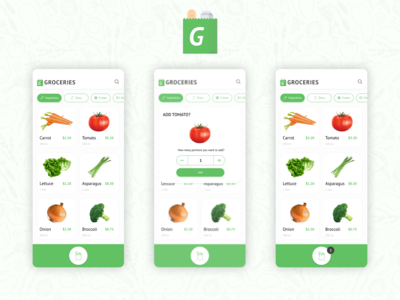 Groceries App Concept Challenge for Uplabs
