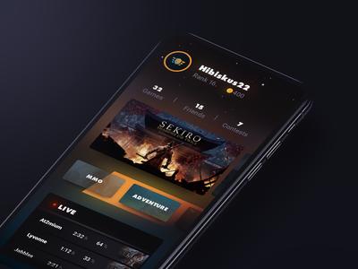 Gaming Platform Concept dark gaming game stadia google modern interface dashboard ios design ux app user interface ui