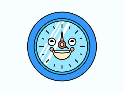 Happy Clock Illustration Icon illustration clock smile smiling spring icon site happy joy shape