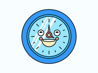 Happy Clock Illustration Icon