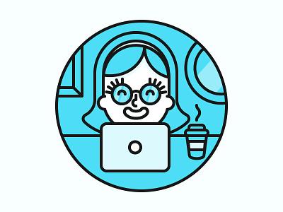 Laptop Illustration apartment laptop happy smile coffee user illustration web