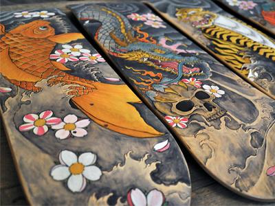 Custom Skateboards skateboard hadpainted illustration tattoo japanese custom skateboards koi dragon snake tiger juan arias
