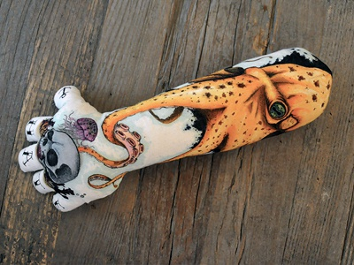 Custom Plush Hand tattoo octopus hand love hate skull ink plush juan arias bodymoving.net