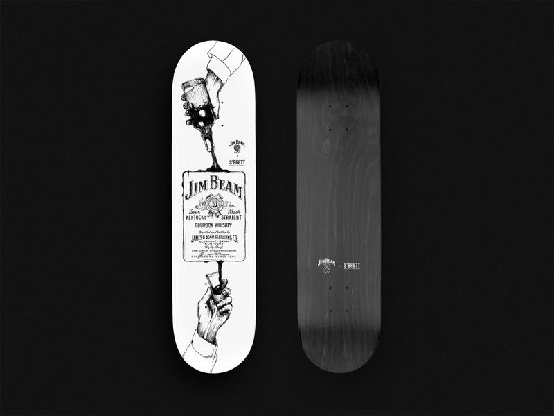 Illustration for Skatedeck-Collab with Jim Beam and S'Brett wacom bamboo skateboarding skateboard product design illustration