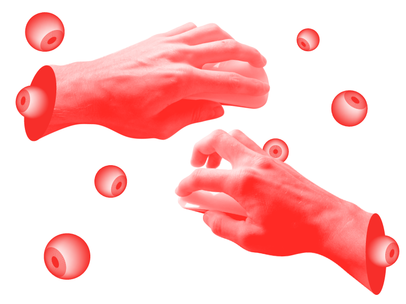 Hand-Eye Coordination illustration montage photo red eye hand