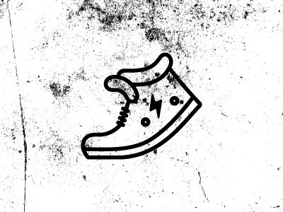 Running Shoe black white icon shoe illustration lightning bolt