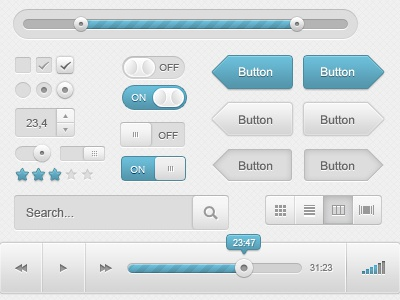 UI Kit (PSD) user ui interface element kit slider scrollbar button blue tabs audio player audio player download psd freebie resources checkbox shapes form