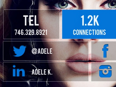 My information adele my info connections social media card profile app concept connecting information
