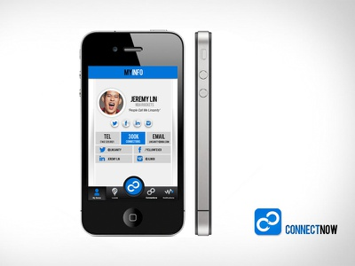 Contact Card contact social media connect now ios app profile page card mobile