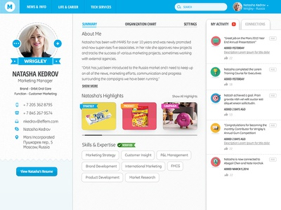 Intranet Design: Public Profile profile intranet blue flat interests skills contact people location likes highlights