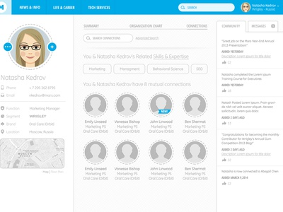 Corporate Intranet: Profile Wireframe Set profile intranet blue flat interests skills contact people location likes highlights