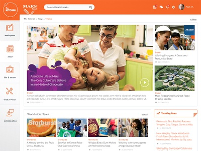 Mars Food News mars food news corporate intranet scroll left nav flat sticky