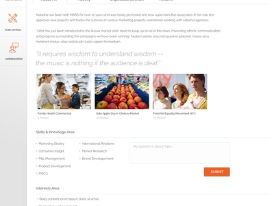 Mars Food User Profile mars food news corporate profile intranet scroll left nav flat sticky sharepoint