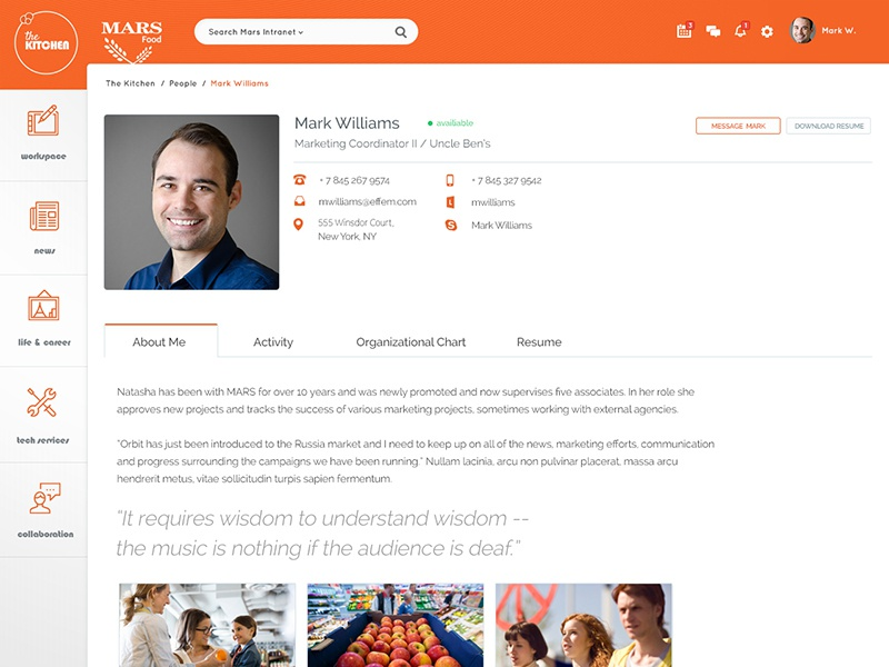Mars Food User Profile mars food news corporate profile intranet scroll left nav flat sticky sharepoint