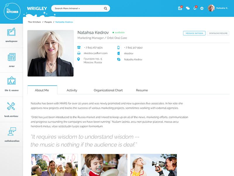Wrigley User Profile mars wrigley news corporate intranet profile left nav flat sticky