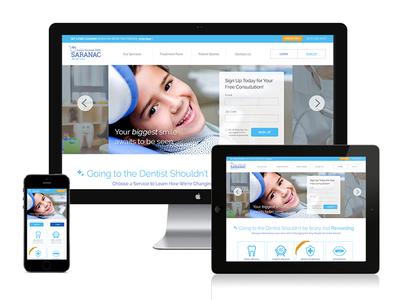 Saranac Dental template design flat icons dentist getty photography ui