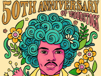 50th Anniversary Woodstock - Jimi Hendrix (iHeartRadio) afro typography floral groovy handlettering poster design 70s 60s hippie jimi hendrix psychedelic woodstock portrait illustration