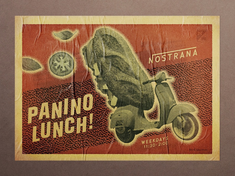 "Nostrana ""Panino"" Promotion logo design photography vintage food and beverage branding illustration graphic design"