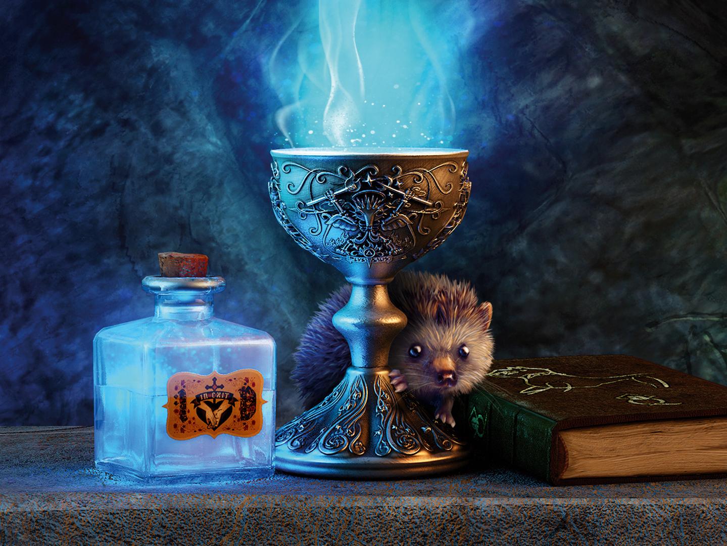 Lurte V Magic Chalice   folk metal music CD booklet copywriting illustration art direction magic potion hedgehog chalice