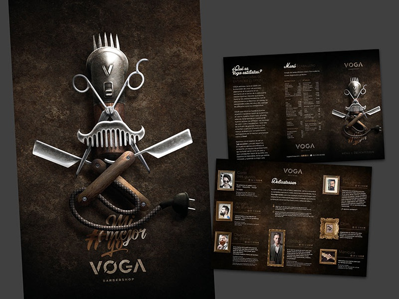 VOGA | Barbershop copywriting design art direction illustration brochure design machine hair salon haircut stylist barbershop